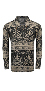 COOFANDY Mens Floral Henley Shirt Slim Fit Long Sleeve Casual Cotton Paisley Print Lace-Up T Shirt