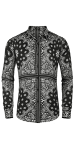 COOFANDY Mens Paisley Cotton Long Sleeve Shirt Button Down Shirt Hip Hop Floral Casual Shirts