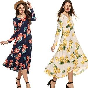 Floral Print High Low Hem Flowy Dress