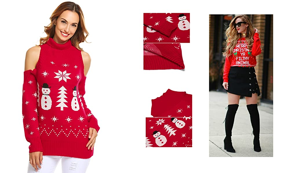 Zeagoo Ugly Christmas Sweater Xmas Cold Shoulder Turtleneck