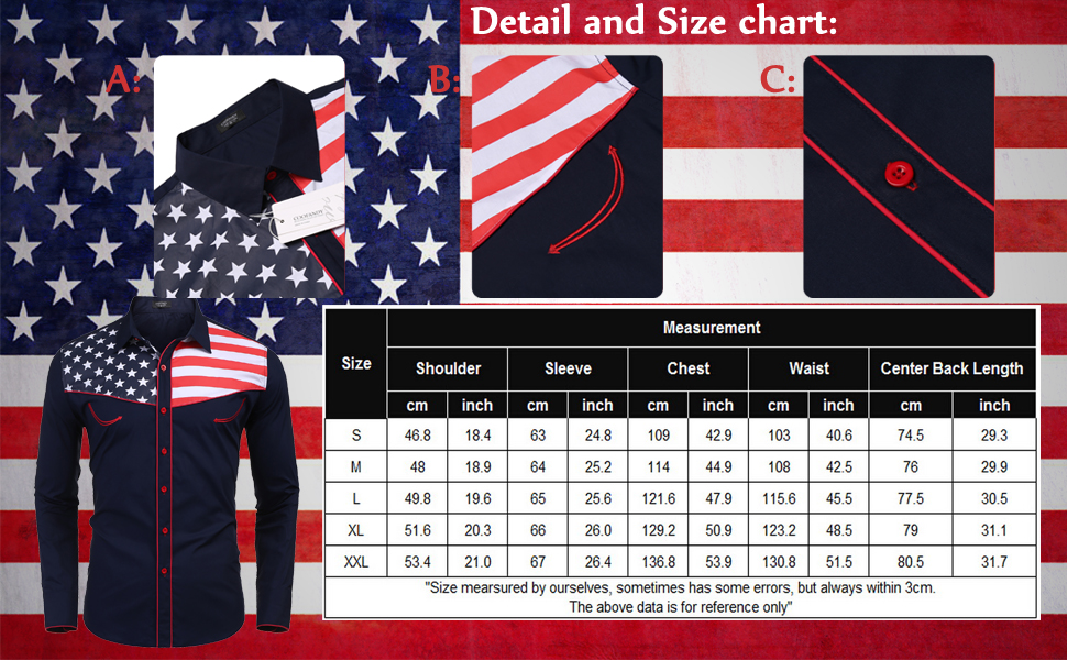 COOFANDY Men's Casual American Flag Button Down Shirts Slim Fit Long Sleeve  Shirt