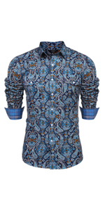 COOFANDY Men's Floral Dress Shirt Slim Fit Casual Paisley Printed Shirt Long Sleeve Button Down