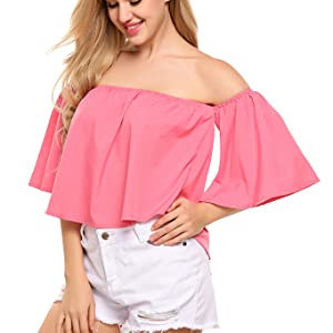 767f7e0d359e7d Women Short Sleeve Off Shoulder Blouse Casual Pleated Ruffle Blouse Top  Shirt