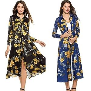 Floral Print Button Down Collar Dress