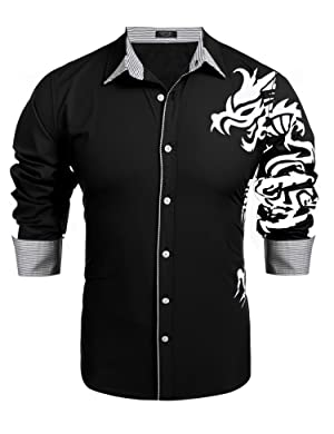 COOFANDY Men's Print Button Down Dress Shirt at Amazon Men's ...