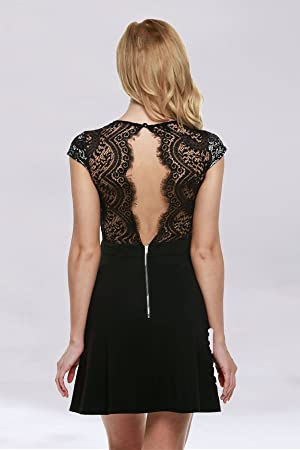 amazoncom zeagoo womens v neck lace floral open back