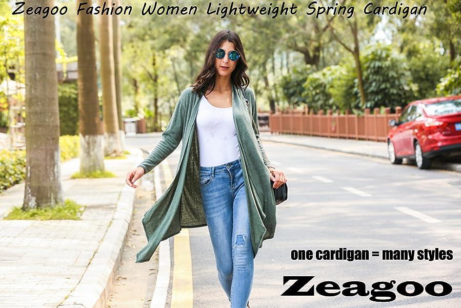 Womens Long Sleeve Open Front Long Maxi Cardigan Waterfall