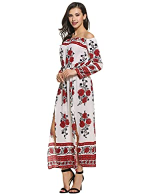 6d0c3316131c Women Sexy Long Sleeve Floral Print Off Shoulder Pullover Maxi Dress.  Polyester, Chiffon, Spandex