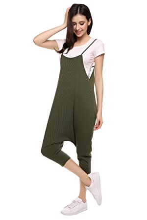 2709edf7f40 Amazon.com  Zeagoo Women s Spaghetti Strap Harem Jumpsuit One Piece ...