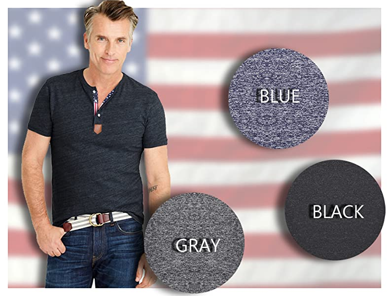 Coofandy Men's Casual Slim Fit American Flag Henley Shirts Cool ...