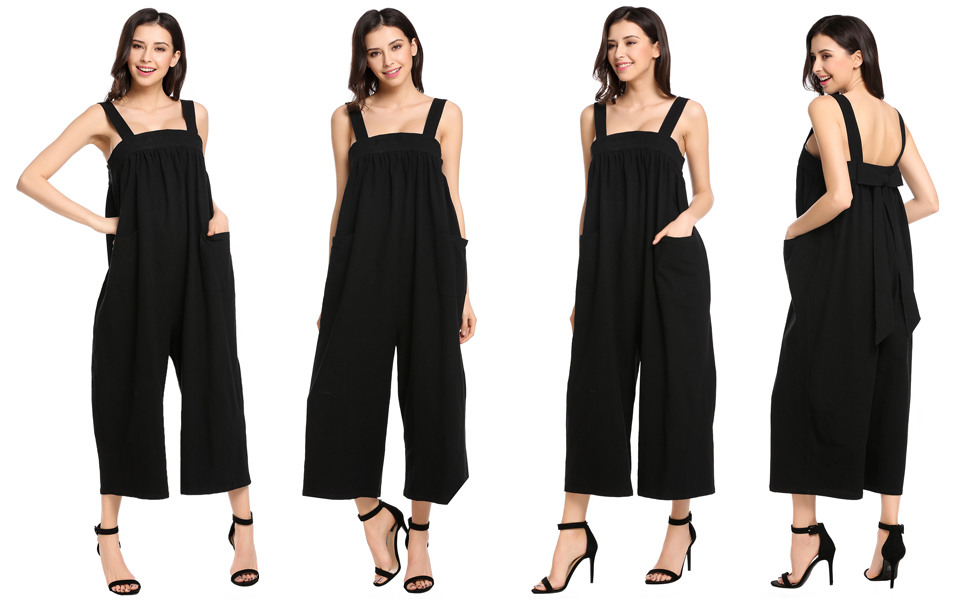 HTOOHTOOH Women Overalls Plus Size Casual Loose Wide Long Pants Jumpsuit Rompers