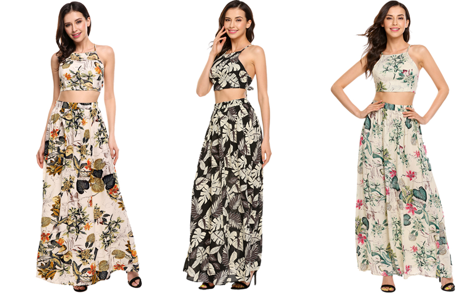 2429a97944c7 Zeagoo Women s Floral Print Two Piece Crop Top Long Maxi Dress at ...