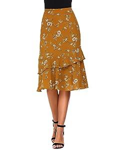 Zeagoo Women's Bohemian Style High Waist Floral Print Slim Ruffles Midi Mermaid Summer Skirt, Blue, Small