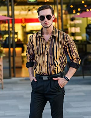 d1b7ea9d9e This gold and black striped shirt is great for a weekend casual  look.Wearing this one with jeans or caual pants is always eye-catching in  the crowd.