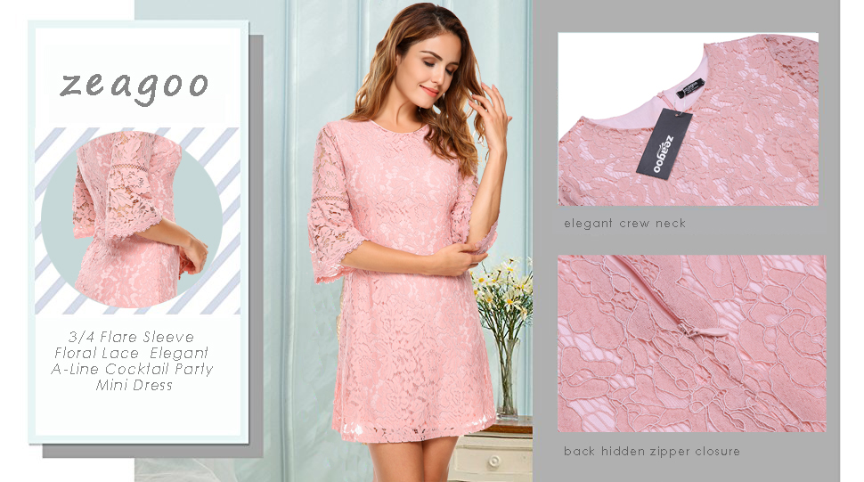 ef8e99fb537 Zeagoo Women s 3 4 Flare Sleeve Floral Lace Elegant A-Line Cocktail Party  Mini Dress