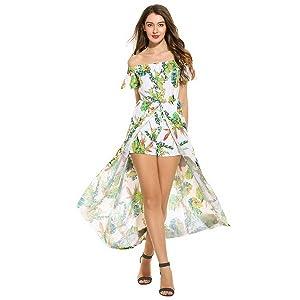 ea471fd4ef55 Zeagoo Women s Off Shoulder Multicolor Floral High Low Maxi Romper ...