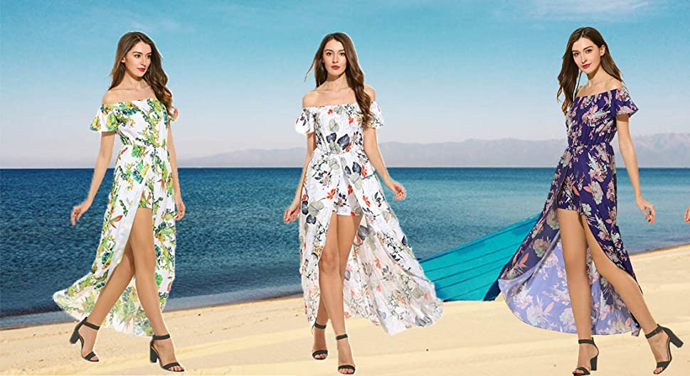 e48f1b4b43c8 Zeagoo Off Shoulder Multicolor Floral High Low Overplay Romper Jumpsuit  Dress.  Size S------Shoulder 13.9 inch----Sleeve 5.1 inch----Chest 38.6 ...