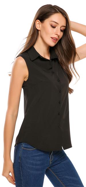 Zeagoo Women's Sleeveless Button Down Shirt Tops Solid