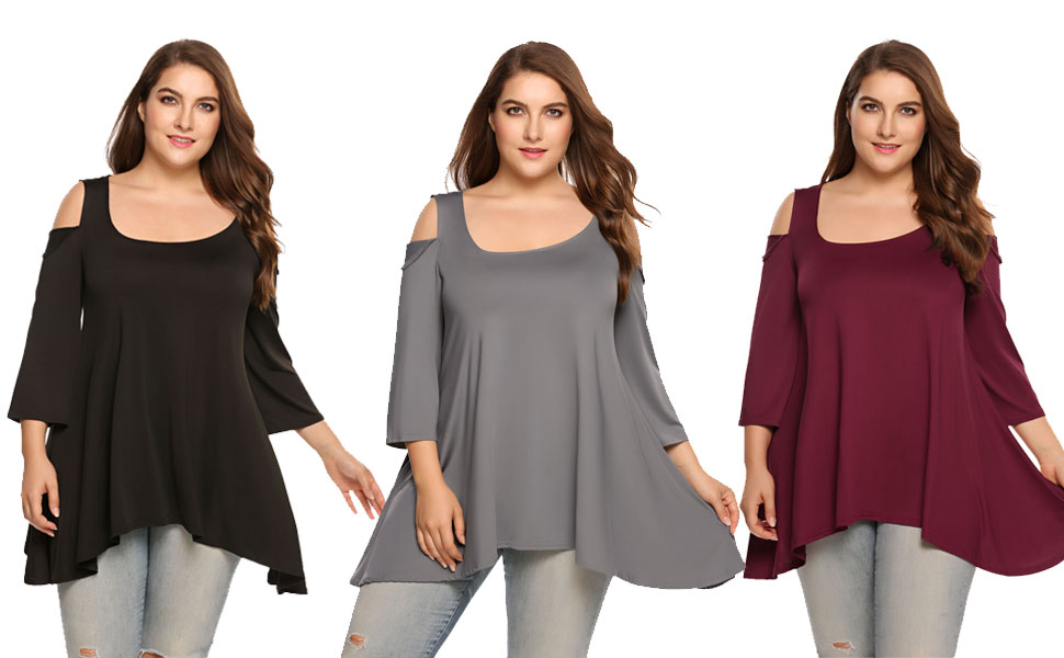 9a74152381fba Zeagoo Plus Size Sexy Cold Shoulder Top 3 4 Short Sleeve High Low Tunic  Party T Shirt