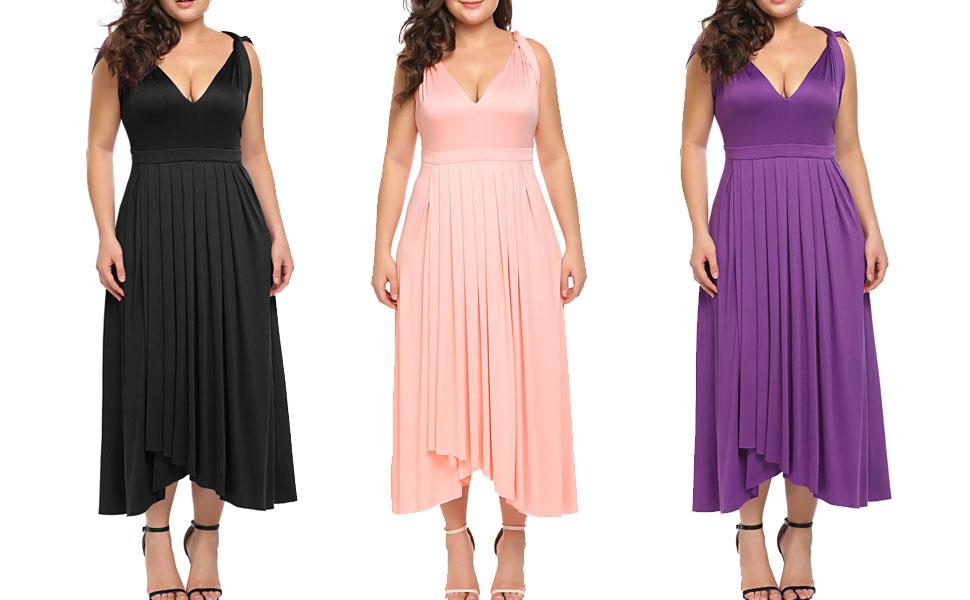 Zeagoo Womens Plus Size Bridesmaid Dress Sleeveless V Neck Cocktail ...