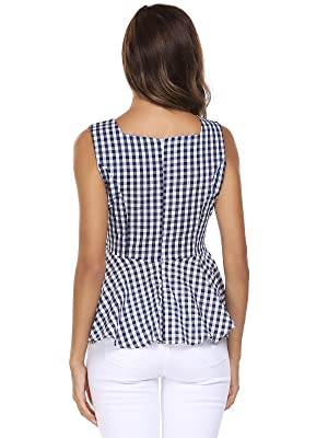 0a41475a242e11 Plaid Tank Top. Blue and white Checkerboard design, very understated yet  classy, and never out of fashion. Self Tie at front or back , bow belt make  you ...