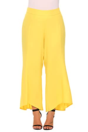 66399606ca905 Zeagoo Womens Plus Size Flared Wide Leg High Waist Long Capri Palazzo Pants  - - Passionate Yellow