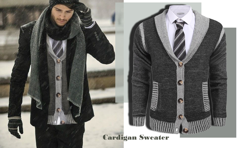 COOFANDY Mens Long Sleeve Shawl Collar Knitted Slim Fit Button ...