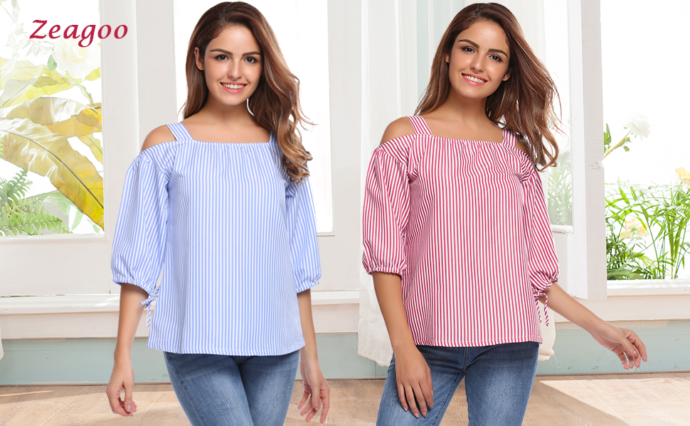 d31c9689b7fdfb Zeagoo Womens 3 4 Sleeve Casual Tops Striped Blouse Plaid Blouses Top In  Any Single Wear