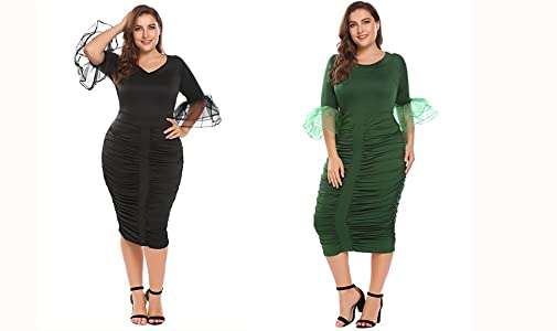 77d5d863 Zeagoo Womens Plus Size 3/4 Flare Sleeve Ruched Party Cocktail ...