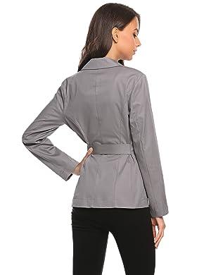 Zeagoo Womens Casual Work Office Blazer Cotton Long Sleeve Cardigan Jacket with Belt