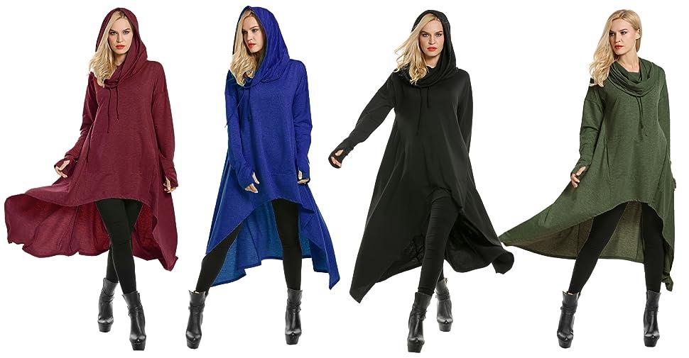 Wofupowga Womens Casual Cowl Neck Cape Loose Tunic Pullover Sweatshirts