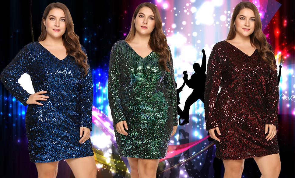 a68539b0 Women's Plus Size Glitter Bodycon Sequin Cocktail Party Club Evening Mini  Dress
