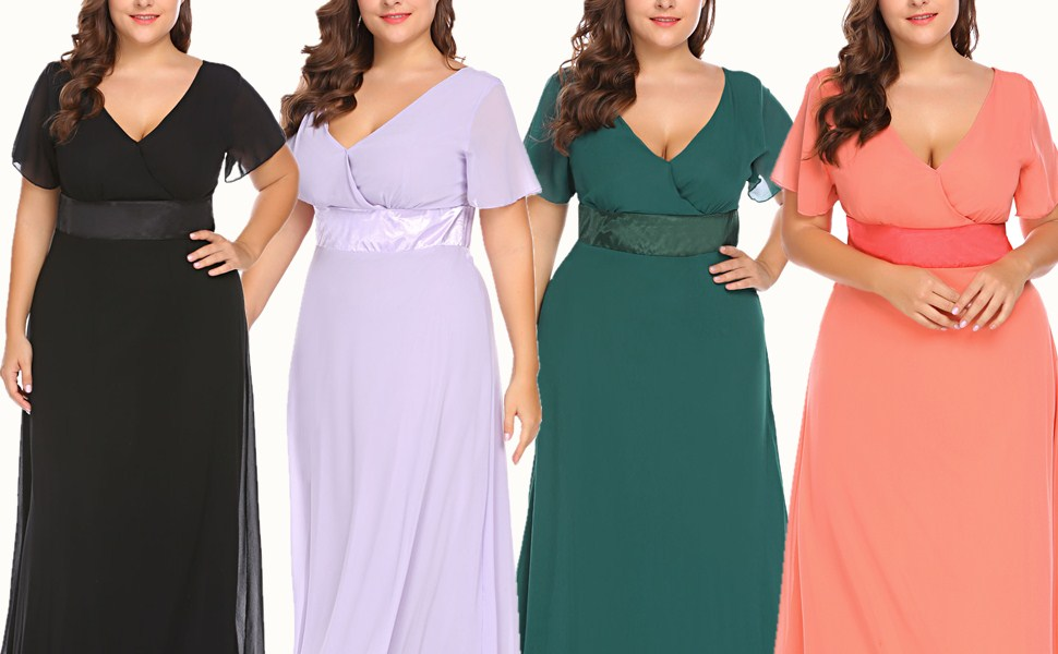 zeagoo Womens Plus Size Chiffon V Neck Short Sleeve Maxi Formal Dresses Party Dress