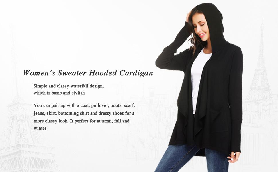 e4f923659b Zeagoo Women s Hooded Long Sleeve Draped Open Front Knit Sweater ...