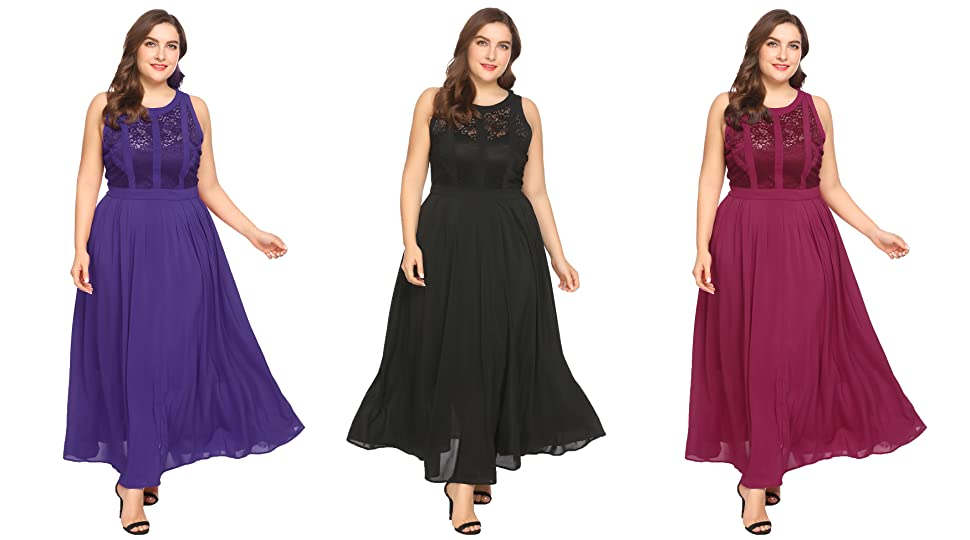 Zeagoo Plus Size Womens Retro Lace 1920S Classic Style Pleated Sleeveless Party Maxi Dress