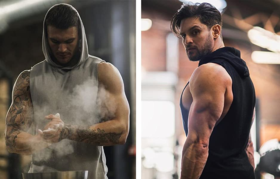 QomUDZYYTLK2. UX938 TTW COOFANDY Men's Workout Hooded Tank Tops Bodybuilding Muscle Cut Off T Shirt Sleeveless Gym Hoodies    Product Description