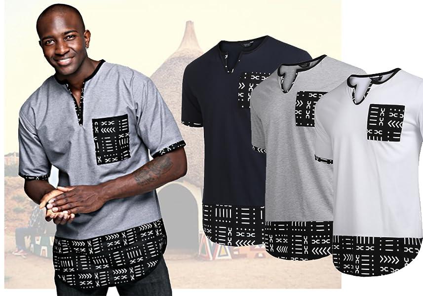 4e608f94e Amazon.com: COOFANDY Men's Hipster Hip Hop V Neck T Shirts Short ...