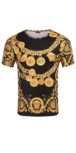 COOFANDY Men's Hipster Hip Hop T Shirt Luxury Graphic Printed Shirts Fashion Street Tee