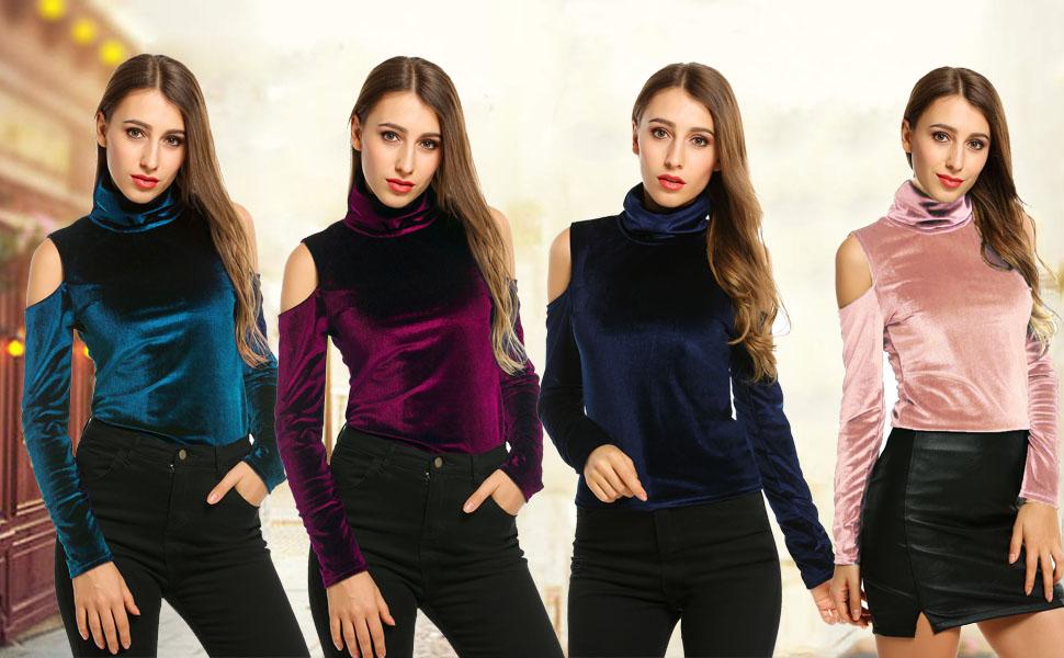 6b1f8ea086bbb7 Zeagoo Women s Velvet Cold Shoulder Turtleneck Pullover Tops Shirt ...