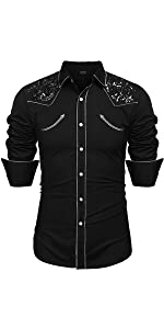 a515a6b6dded COOFANDY Men s Embroidered Rose Design Western Shirt Long Sleeve ...