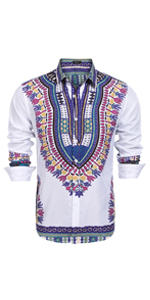 COOFANDY Men's African Print Dashiki Dress Shirt Slim Fit Long Sleeve Shirt