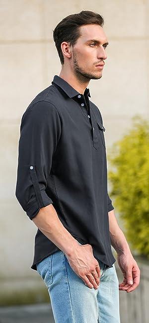 f84dd65af87 Black shirt with light blue jean. COOFANDY Men s Henley Neck Shirt.  COOFANDY Men s Linen Long Sleeve Shirt