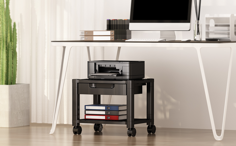 Printer Stand Under Desk Printer Stand with Cable Management /& Storage Drawers