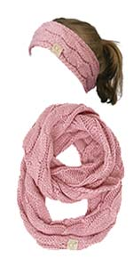 trendy warm chunky soft cable knit coco crochet stitch toboggan infinity scarf oblong 2 pack bundle