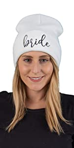 bride and bride tribe embroidered beanies
