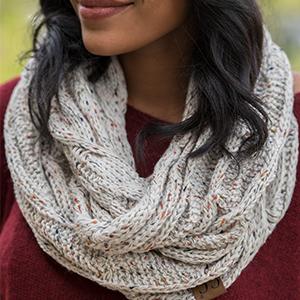 womens warm winter knit infinity scarf shawl wrap confetti oatmeal speckled