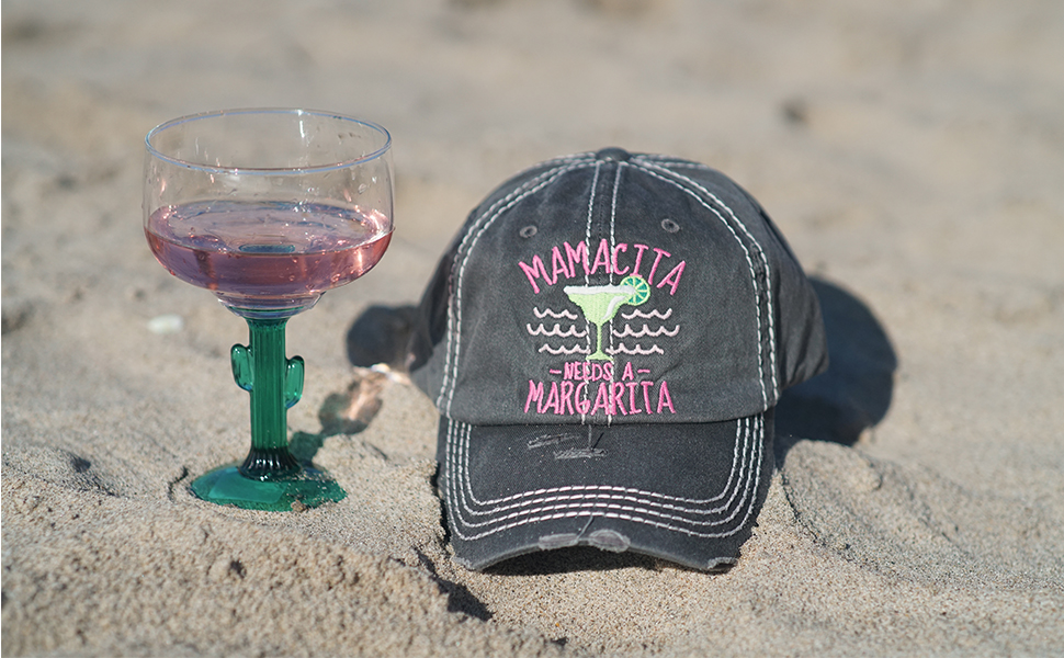 mamacita needs a margarita mesh distressed trucker hat baseball cap unconstructed low profile
