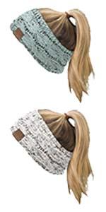 beanie gorro winter hat beenie stocking hat ponytail messy bun head wrap headband headwrap ear muffs