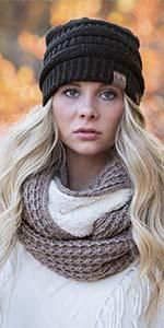 ... gorros de invierno mujer metallic oatmeal classic cc beanie head scarf  wrap band earband sock hat ... df49e137f86