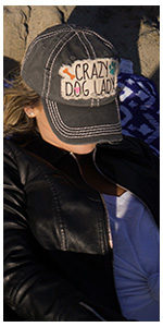 crazy dog lady unconstructed baseball cap distressed patch dad hat